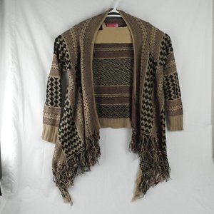 Brown Open Front Knit Cardigan Womens M